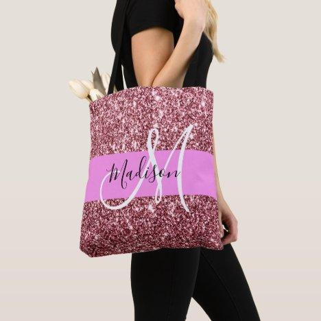 Glam Blush Pink Rose Gold Glitter Sparkle Monogram Tote Bag