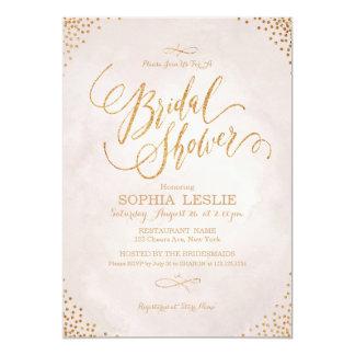 Glam blush rose gold calligraphy Bridal Shower Card