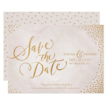 Glam blush rose gold calligraphy save the date card
