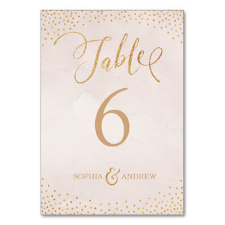 Glam blush rose gold calligraphy table number card