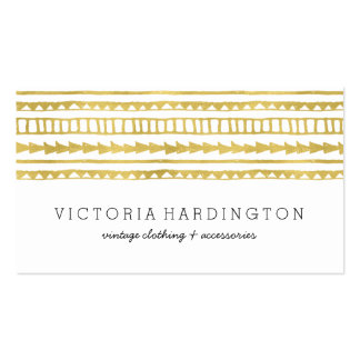 Glam Boho Chic   Faux Gold Foil Business Card