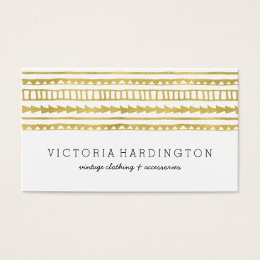 Aztec Themed Glam Boho Chic | Faux Gold Foil Business Card