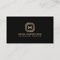 Glam Box Logo Monogram on Black Designer Business Card