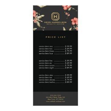 Glam Box Logo Monogram Vintage Floral Designer Rack Card