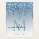 "Glam Bright Blue Glitter Drips Girly Monogram 2021 Planner<br><div class=""desc"">Modern Glam Bright Light Sky Blue Glitter Drips Girly Feminine Luxury Monogram Script Name 2021 Planner</div>"