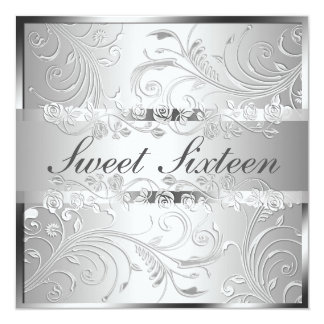 Glam Bright Silver Floral Pattern Sweet Sixteen Card