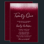 "Glam Burgundy 21st Birthday Invitation<br><div class=""desc"">This modern 21st birthday invitation is designed to impress! Trendy faux shimmer lights on a burgundy background with a modern script font.</div>"