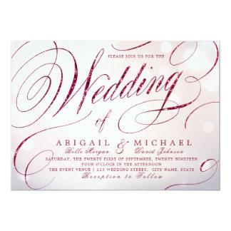 Glam burgundy calligraphy vintage wedding invitation