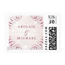 Glam burgundy flourish vintage wedding couples postage