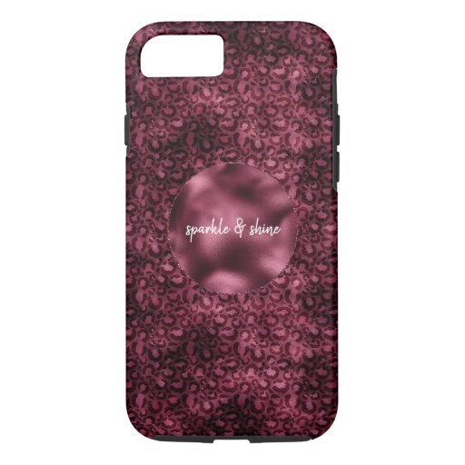 Glam Burgundy Leopard Print iPhone 8/7 Case