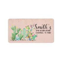 Glam Cactus Wedding Return Address Labels