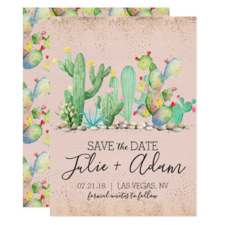 Glam Cactus Wedding Save The Date Card