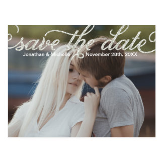 Glam Calligraphy | Photo Save the Date Postcard