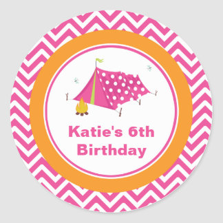 Glam Camp Makeover Girls Birthday Envelope Seal