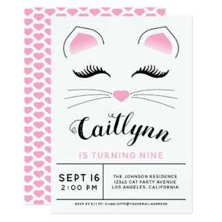 Glam Cat Birthday Party Card