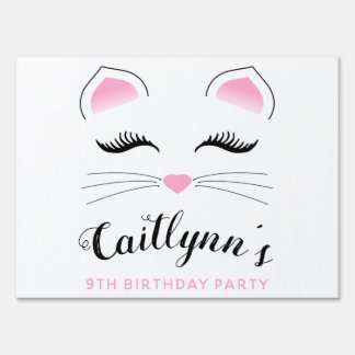 Glam Cat Birthday Party Lawn Sign