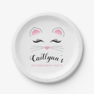 Glam Cat Birthday Party Paper Plate