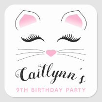 Glam Cat Birthday Party Square Sticker