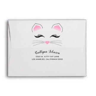 Glam Cat Pink and Black Envelope