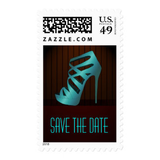 Glam Chic Aqua High Heels Spotlight Save the Date Postage