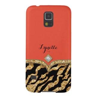 Glam Chic Glittering Zebra Print Pattern Gold Gem Galaxy S5 Cover