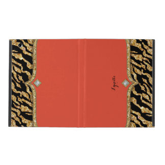 Glam Chic Glittering Zebra Print Pattern Gold Gem iPad Cover