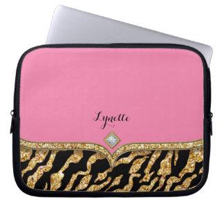 Glam Chic Glittering Zebra Print Pattern Gold Gem Laptop Sleeve