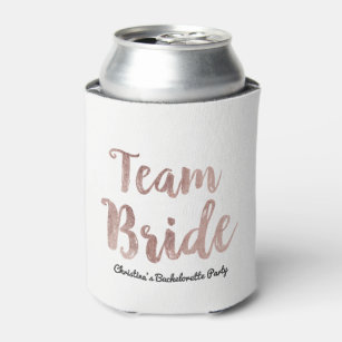 Custom beer holders Bridal party Bridesmaids Blush pink Personalized Gold the party,bachelorette can coolers Wife of the party