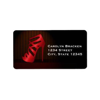 Glam Chic Red High Heels Spotlight Return Address Address Label
