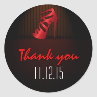 Glam Chic Red High Heels Spotlight Thank You Round Stickers