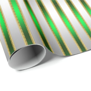 Glam Chic Shiny Silver and Green Stripes Wrapping Paper