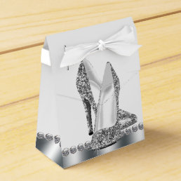 Glam Chic Silver Glitter High Heel Shoe Favor Box