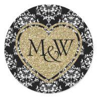 Glam Damask & Gold Glitter Monogram Wedding Sticker