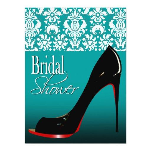 Glam Damask Stiletto Bridal Shower 6.5x8.75 Paper Invitation Card