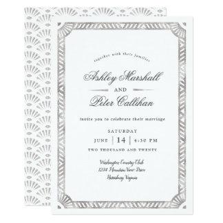 Glam Deco Border Wedding Invitation