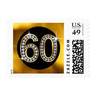 Glam Diamond Bling Number 60 Gold Black Postage Stamps