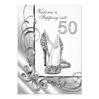 Glam Diamond Stepping Into 50 Birthday Party Card