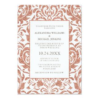 Glam Elegant Faux Rose Gold Glitter Damask Wedding Invitation