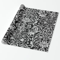 Glam Elegant Faux Silver Foil Damask on Black Wrapping Paper