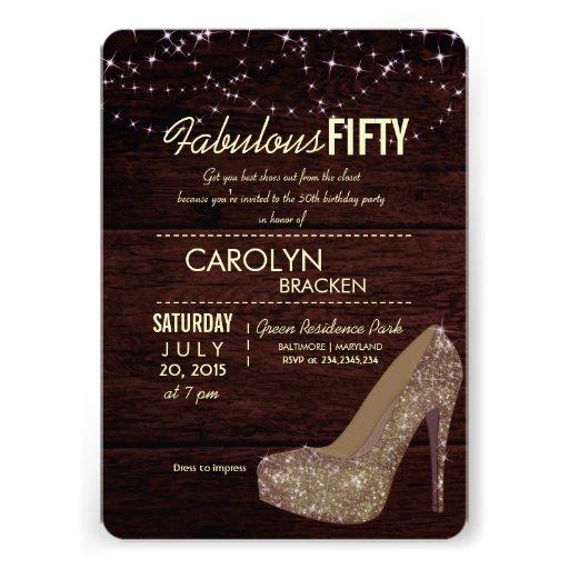 Glam Elegant High Heels 50th Birthday Party Invite