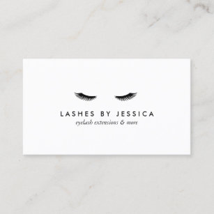 glam eyelashes black and white business card - Lash Extension Business Cards