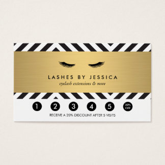 Glam Eyelashes Bold Pattern Loyalty Punch Card