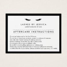 Glam Eyelashes Classic Lash Salon Aftercare Card at Zazzle