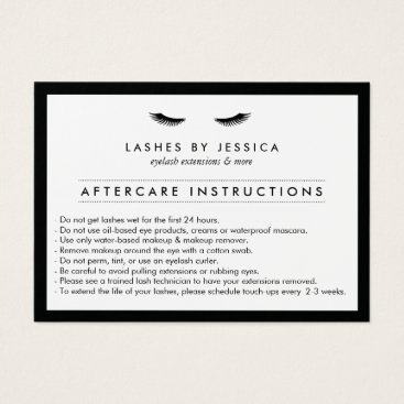 1201am Glam Eyelashes Classic Lash Salon Aftercare Card
