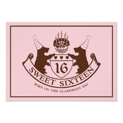 Glam Fashion Couture Girl Sweet Sixteen Birthday Personalized Invites