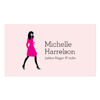 Glam Fashion Girl Style Blogger, Boutique Pink Business Card