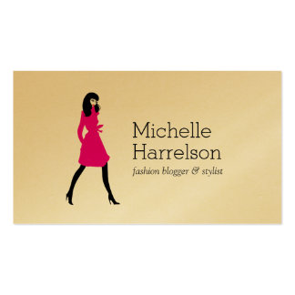 Glam Fashion Girl Stylist, Boutique Gold Business Card
