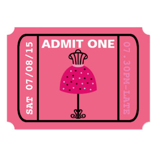 Glam Fashion Show Party Night Girl's Ticket 5x7 Paper Invitation Card