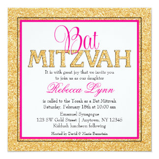 Glam Faux Glitter Gold Pink Bat Mitzvah Card