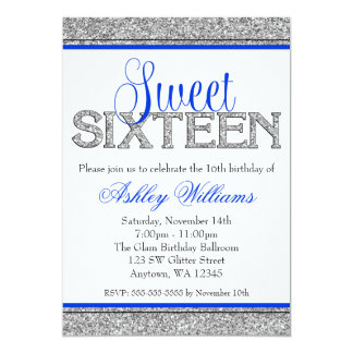 Glam Faux Glitter Silver Blue Sweet 16 Card